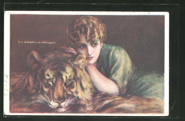 Künstler-AK Tito Corbella: Junge Frau auf einem Tigerfell