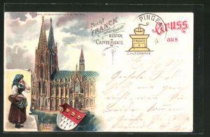 Lithographie Köln, Dom, Stadtwappen, Reklame für Aecht Franck Kaffee-Zusatz
