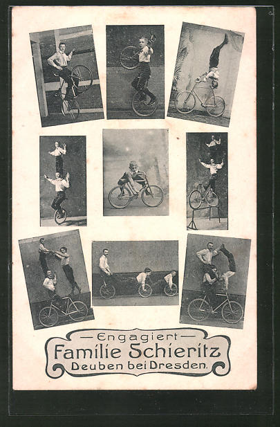 AK Familie Schieritz, Deuben bei Dresden, Kunstradfahrer