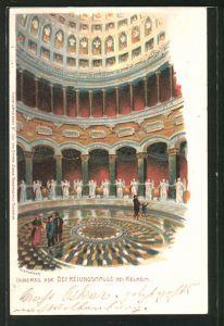 Künstler-Lithographie P. Kraemer: Kelheim, Inneres der Befreiungshalle