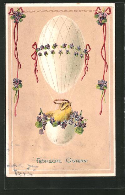 Präge-AK Fröhliche Ostern, Osterküken in Ei-Ballon