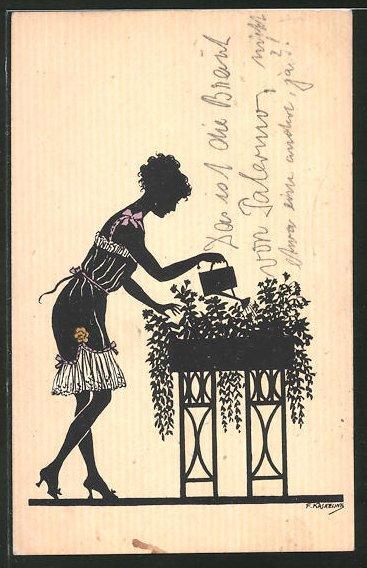Künstler-AK Friedrich Kaskeline: Dame beim Blumengiessen