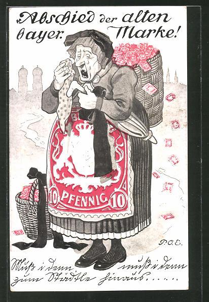Künstler-AK P. O. Engelhard (P.O.E.): alte Frau mit Korb auf dem Rücken weint,