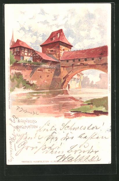 Künstler-AK P. Schmohl: Nürnberg, Flusspartie an Casematten