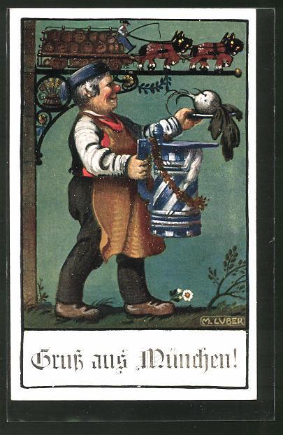 Künstler-AK Max Luber: München, Mann mit Bierkrug und Rübe