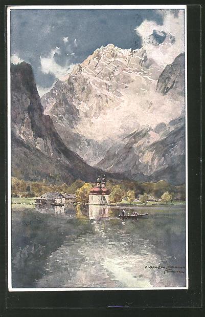 Künstler-AK Edward Harrison Compton: Seepartie mit Totalansicht eines Ortes & Gebirge im Hintergrund