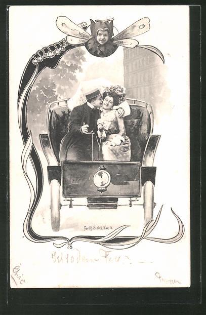 Künstler-AK Charles Scolik: frisch getrautes Ehepaar in einem Auto