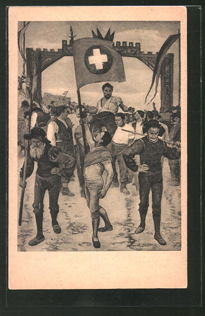 Künstler-AK Ferdinand Hodler: Zürich, Der Schwingerumzug 1887 in das Kunsthaus