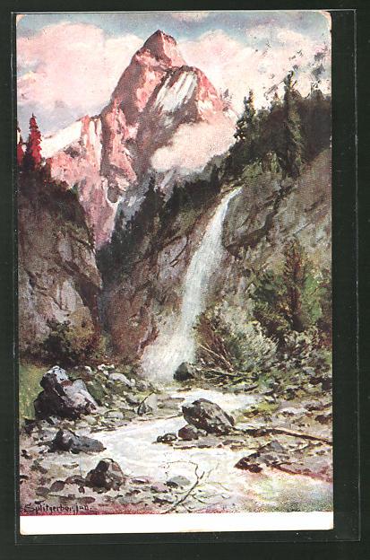 Künstler-AK August Splitgerber: Alpen, Wasserfall