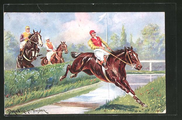 Künstler-AK Ermenegildo Carlo Donadini: Pferderennen