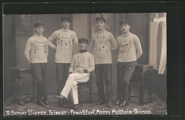 Foto-AK II. Senior Vierer, Ruderer, Sieger Frankfurt, Main, Mannheim, Giessen