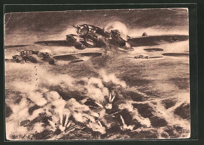 Künstler-AK Deutsche Kampfflugzeuge zerstören feindlichen Eisenbahnknotenpunkt