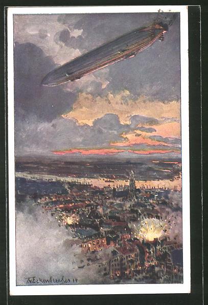 Künstler-AK Antwerpen, Zeppelin über der Stadt