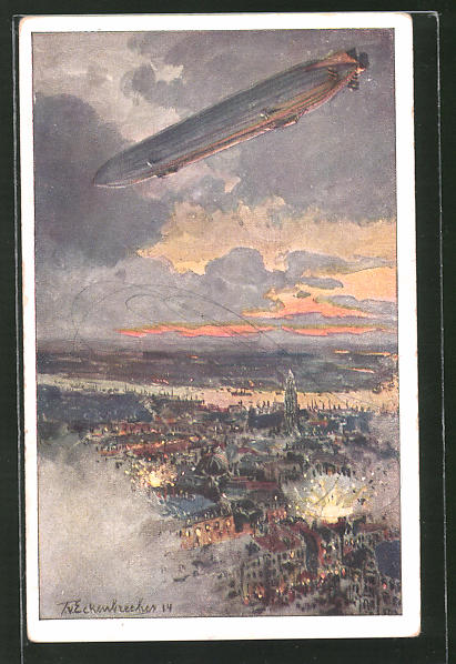 Künstler-AK Antwerpen, Zeppelin beim Bombardement