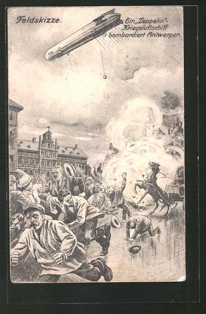 AK Antwerpen, Zeppelin bombardiert die Stadt, Menschen fliehen in Panik