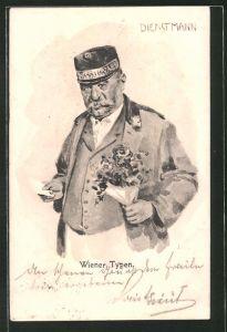 Künstler-AK Wiener Typen, Dienstmann mit Blumenstrauss