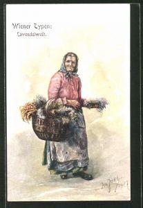 Künstler-AK Wiener Typen, Lavendelweib