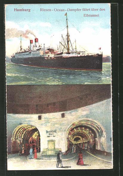 AK Hamburg-St. Pauli, Riesen-Ocean-Dampfer fährt über den Elbtunnel