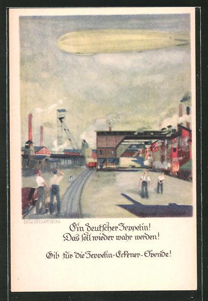 Künstler-AK Zeppelin-Eckener-Spende, Zeppelin über einer Zeche