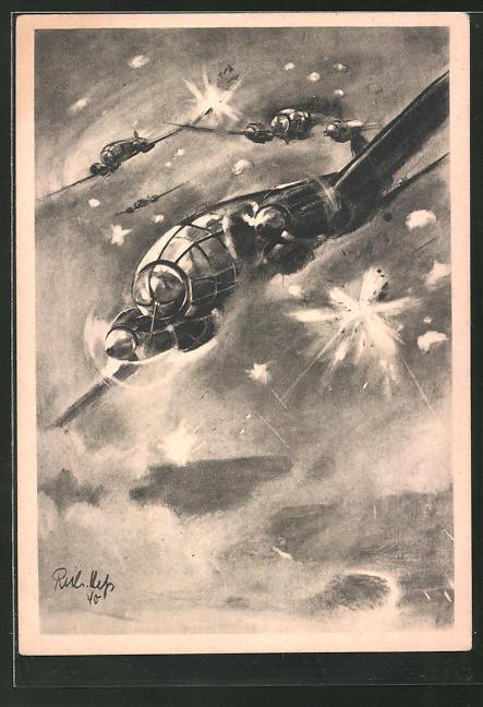 Künstler-AK Heinkel-Kampfflugzeuge stossen durch das Sperrfeuer englischer Flakbatterien