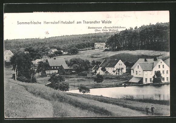 AK Herrndorf-Hetzdorf, Ortspartie am Waldrand