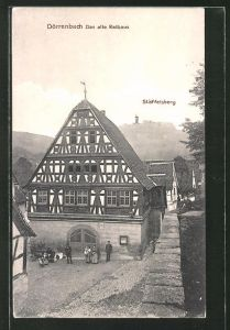 AK Dörrenbach, Altes Rathaus und Blick zum Stäffelsberg