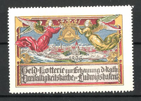 Reklamemarke Ludwigshafen, Geld-Lotterie zur Erbauung der kath. Dreifaltigkeitskirche, Engel über der Kirche