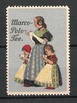 Reklamemarke Marco-Polo Tee, Frau mit Kindern trinken Tee