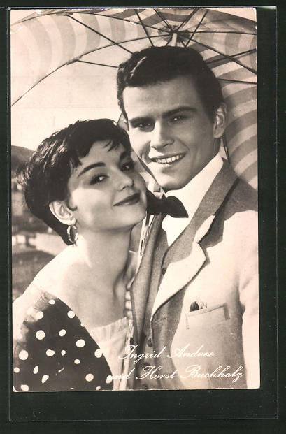 AK Schauspieler Ingrid Andree und Horst Buchholz spielten im Film