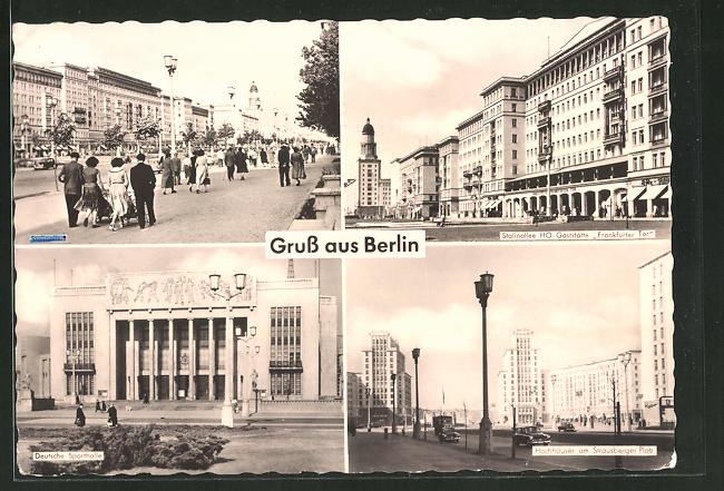 AK Berlin, Hochhäuser am Strausberger Platz, Gaststätte
