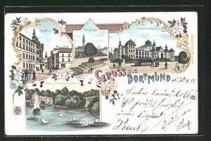 Lithographie Dortmund, Fredenbaum, Parthie aus dem Kronenburger Garten, Burgthor