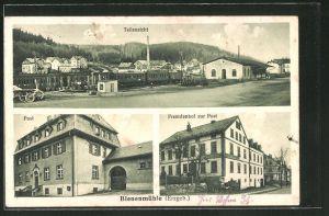 AK Bienenmühle / Erzgeb., Hotel zur Post, Teilansicht, Post