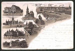 Lithographie Dortmund, Markt m. Rathaus, Oberpostdirectionsgebäude, Fredenbaum, Kronenburg-Garten, Bahnhof