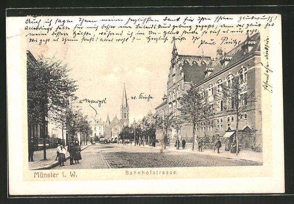 AK Münster i. W., Bahnhofstrasse mit der Erlöserkirche