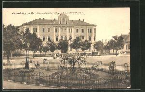 AK Naumburg a. S., Hotel zur Reichskrone mit dem Bismarckplatz