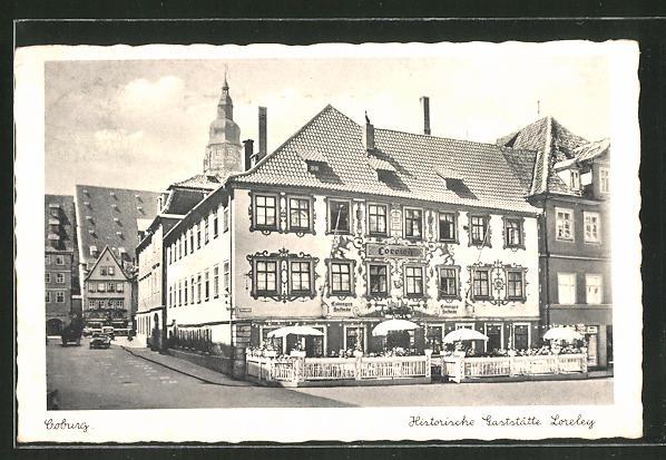 AK Coburg, Strassenpartie am Gasthaus Loreley