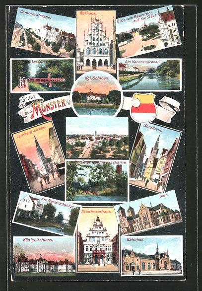 AK Münster i. W., Hammerstrasse, Rathaus, Stadthaus, Königl. Schloss, Bahnhof, Dom, Stadtweinhaus, Totalansicht