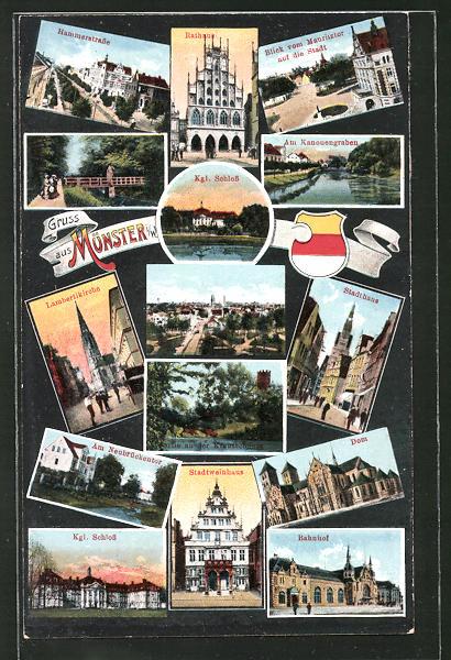 AK Münster i. W., Hammerstrasse, Bahnhof, Dom, Rathaus, Stadtweinhaus, Königl., Schloss Totalansicht, Stadthaus