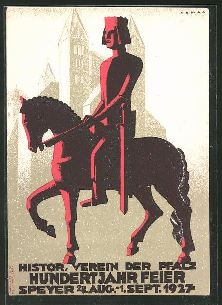 AK Speyer, Hist. Verein der Pfalz, Hundertjahrfeier, 28. Aug.-1. Sept. 1927, Volksfest, Reiter zu Pferde