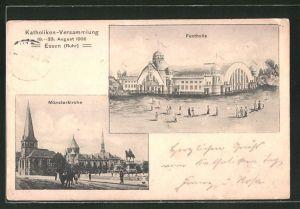 AK Essen / Ruhr, Katholiken-Versammlung 1908, Münsterkirche, Festhalle