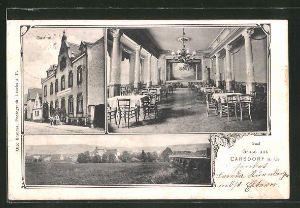 AK Carsdorf a. U., Gasthof zu Carsdorf, Ortsansicht