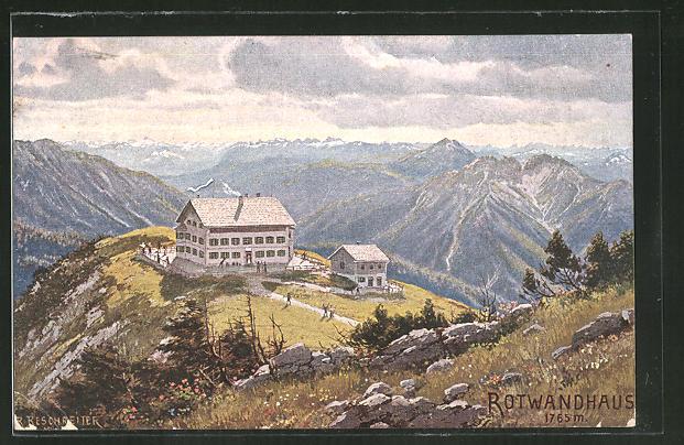 Künstler-AK Rudolf Reschreiter: Berghütte Rotwandhaus mit Blick über die Alpen