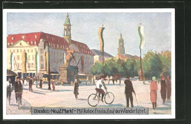 Künstler-AK Dresden, Fahrrad mit Rotax-Freilauf auf der Wanderfahrt (Reklame), Neustädter Markt