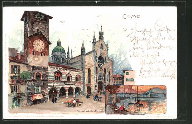 Künstler-Lithographie Manuel Wielandt: Como, Motive aus dem Ort