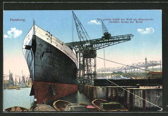 AK Hamburg, das grösste Schiff der Welt am Riesenkran