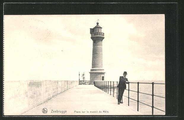 AK Zeebrugge, Phare sur le musoir du Môle, Leuchtturm