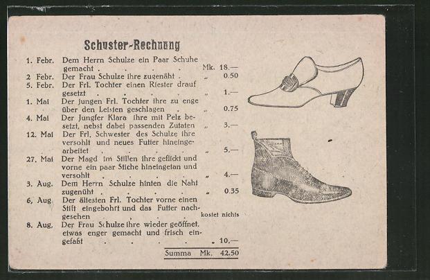 AK Schuster-Rechnung, erotischer Humor
