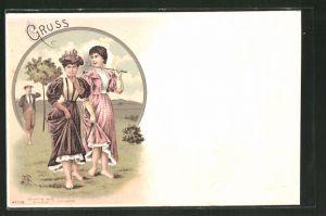 Lithographie barfüssige Damen beim Tautreten