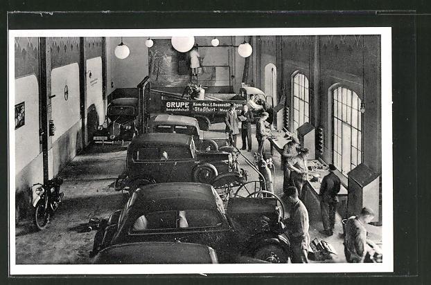AK Stassfurt-Leopoldshall, Opel Automobile Karl Hausmann, Salzwerksstrasse 1, Werkstatt