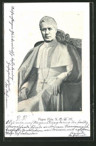AK Papst Pius X. in seinem Thron